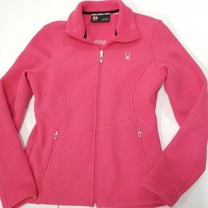 Pink Spyder Core Sweater Jacket Ribbed Medium